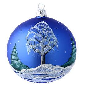 Pallina blu paesaggio notturno con neve 100 mm s2
