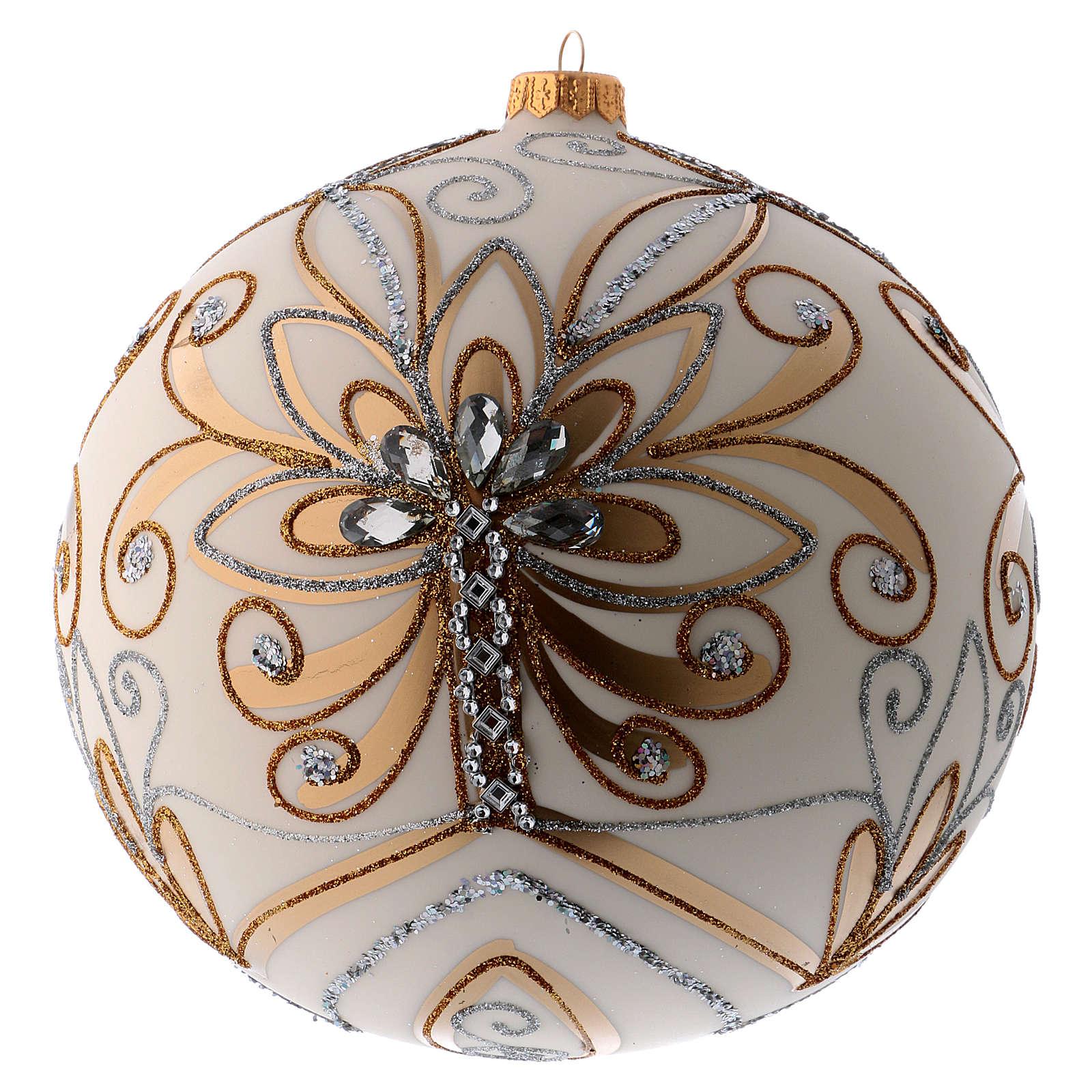 Bola Árbol de Navidad vidrio soplado blanco, plata y oro 200 mm 4