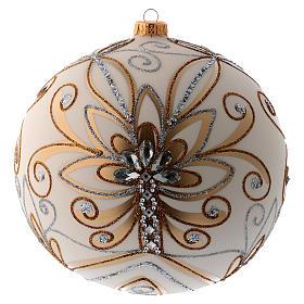 Bola Árbol de Navidad vidrio soplado blanco, plata y oro 200 mm s3