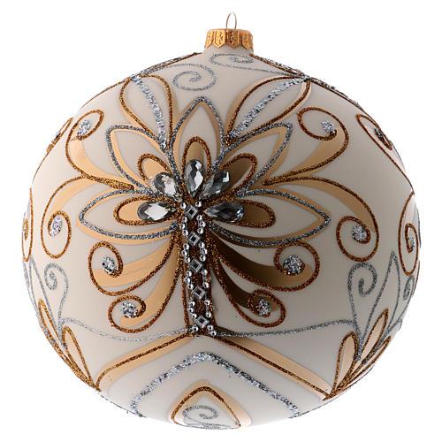 Bola Árbol de Navidad vidrio soplado blanco, plata y oro 200 mm 1