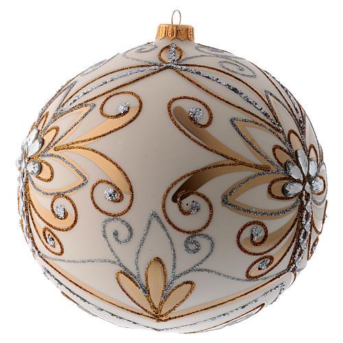 Bola Árbol de Navidad vidrio soplado blanco, plata y oro 200 mm 2