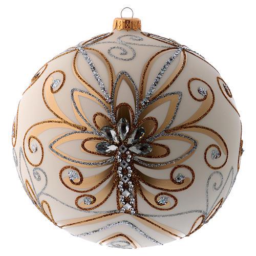 Bola Árbol de Navidad vidrio soplado blanco, plata y oro 200 mm 3