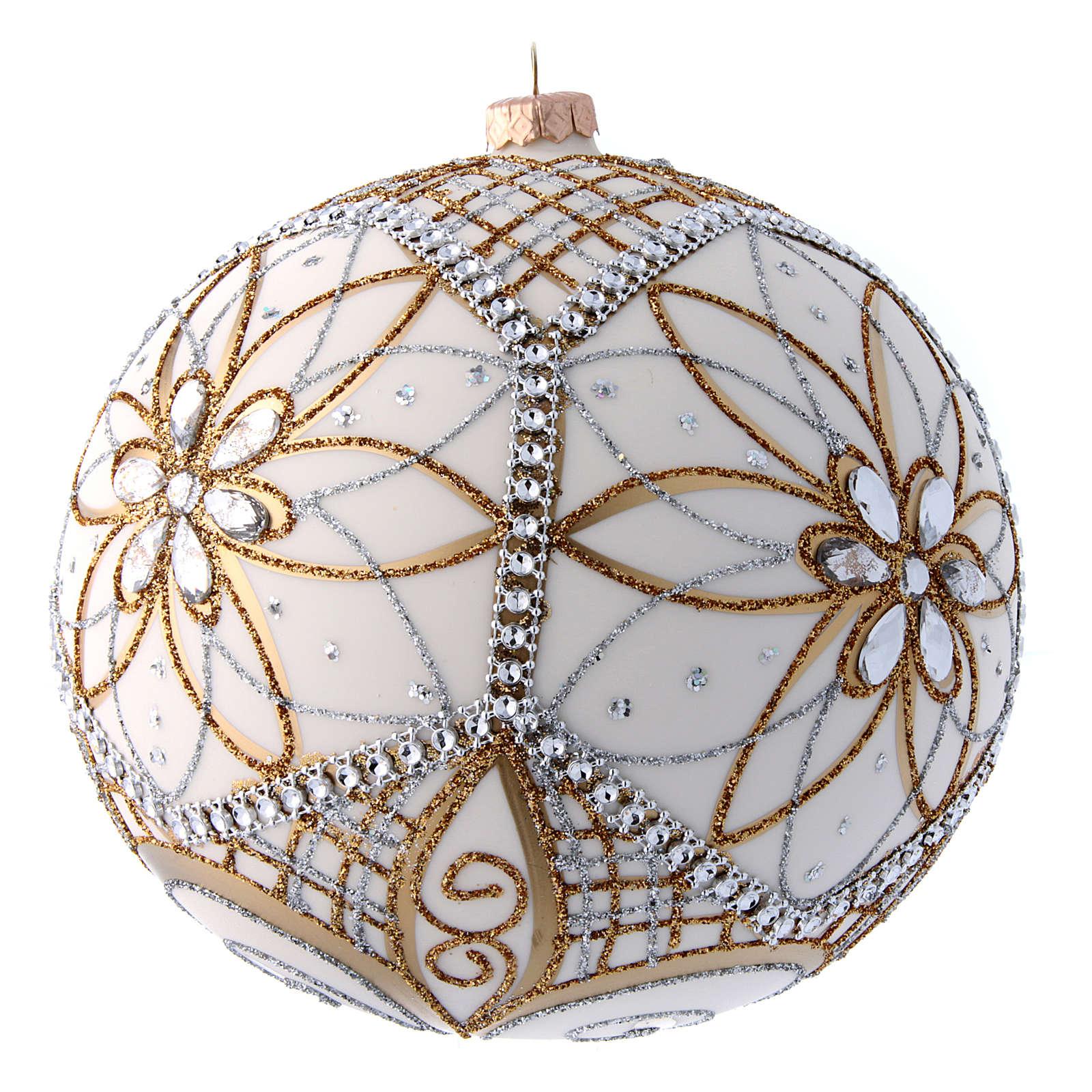 Palla vetro soffiato bianco, argento e oro 200 mm 4
