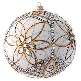 Palla vetro soffiato bianco, argento e oro 200 mm s3