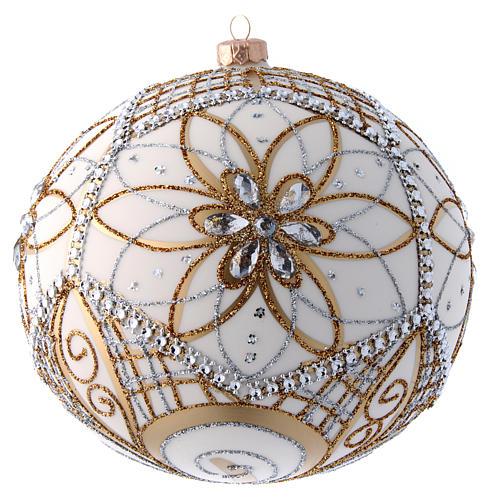 Palla vetro soffiato bianco, argento e oro 200 mm 1