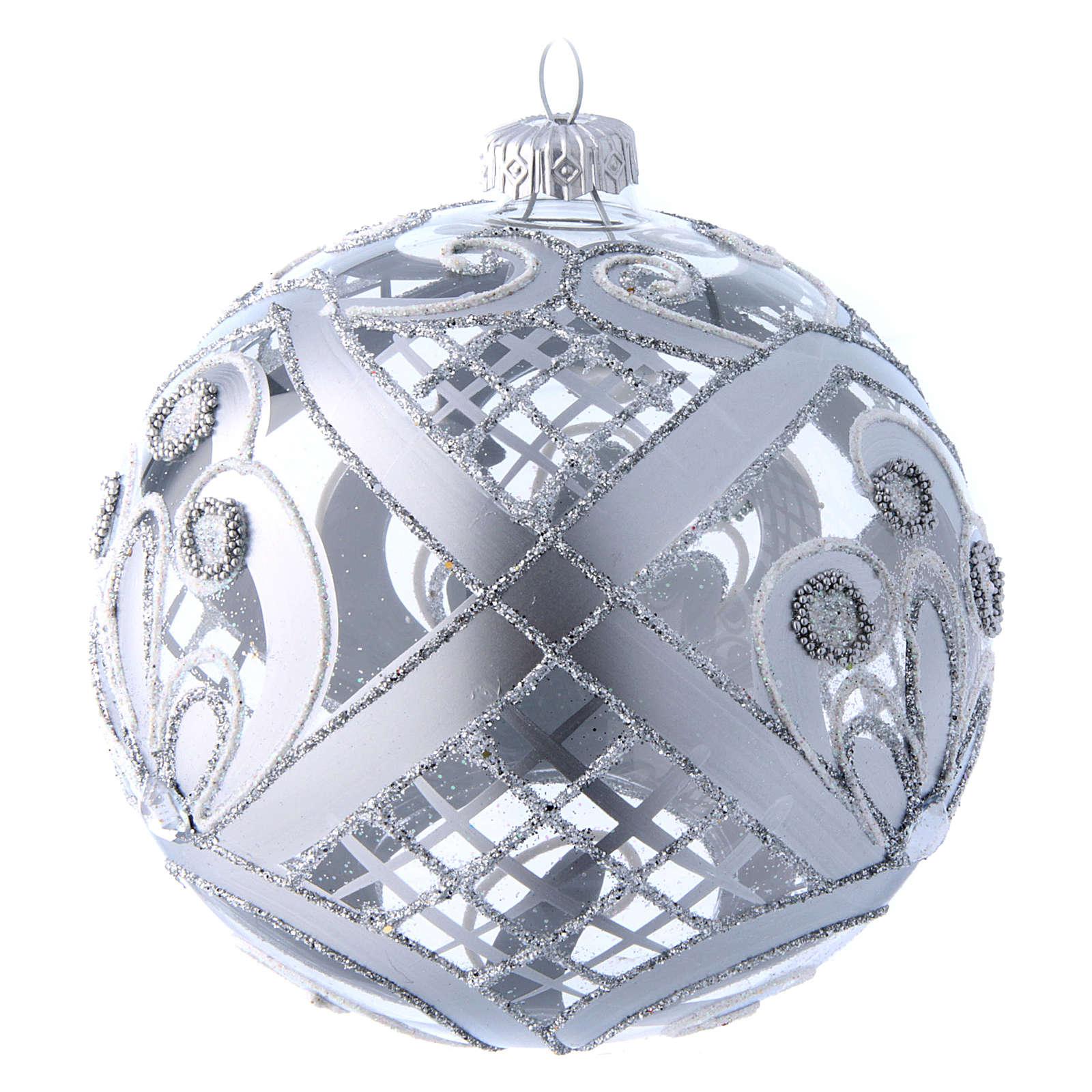 Palla vetro trasparente decoro argento 120 mm 4