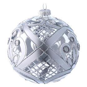 Palla vetro trasparente decoro argento 120 mm s2