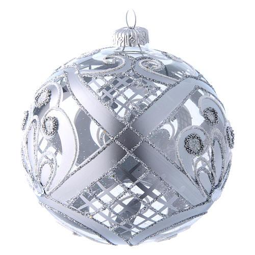 Palla vetro trasparente decoro argento 120 mm 2