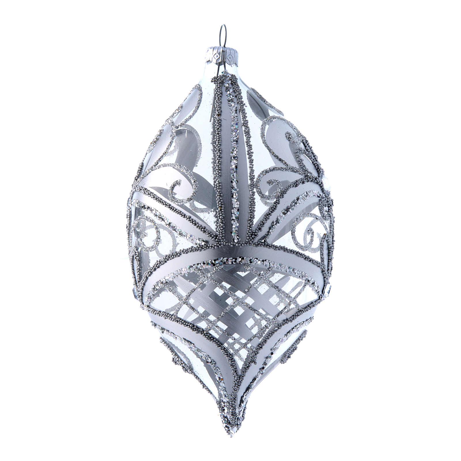 Palla a goccia trasparente decoro argento 100 mm 4