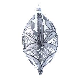 Palla a goccia trasparente decoro argento 100 mm s2