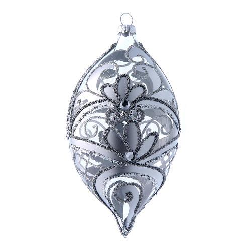 Palla a goccia trasparente decoro argento 100 mm 1