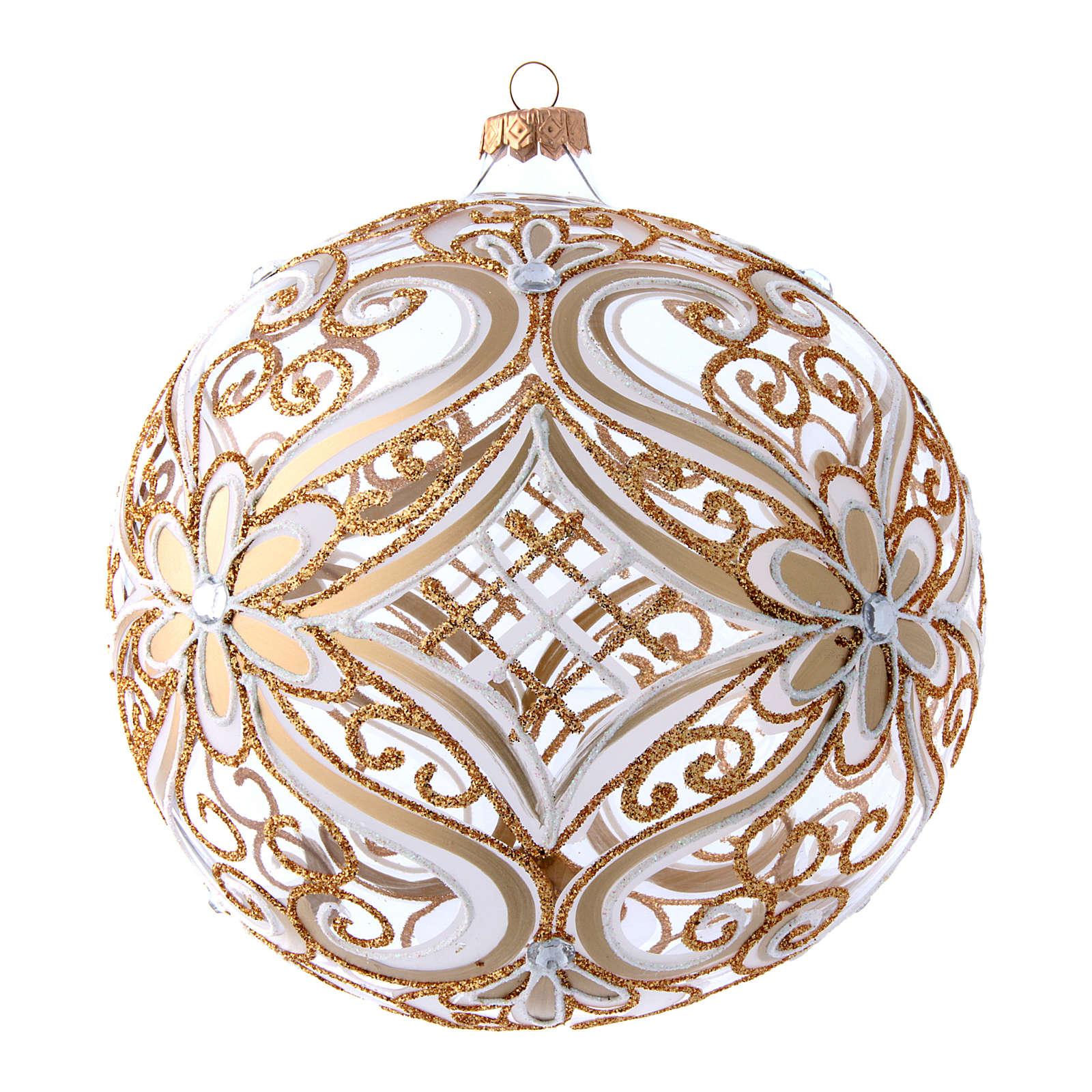 Weihnachtsbaumkugel aus transparentem Glas mit weißen und goldenen Verzierungen 200 mm 4