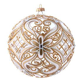 Weihnachtsbaumkugel aus transparentem Glas mit weißen und goldenen Verzierungen 200 mm s1