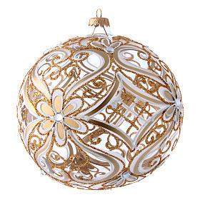 Weihnachtsbaumkugel aus transparentem Glas mit weißen und goldenen Verzierungen 200 mm s3