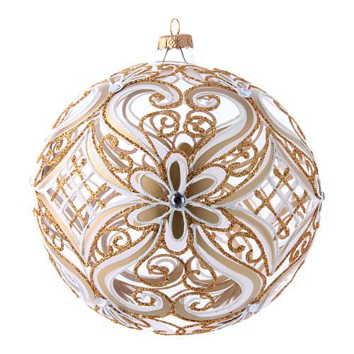 Weihnachtsbaumkugel aus transparentem Glas mit weißen und goldenen Verzierungen 200 mm 1