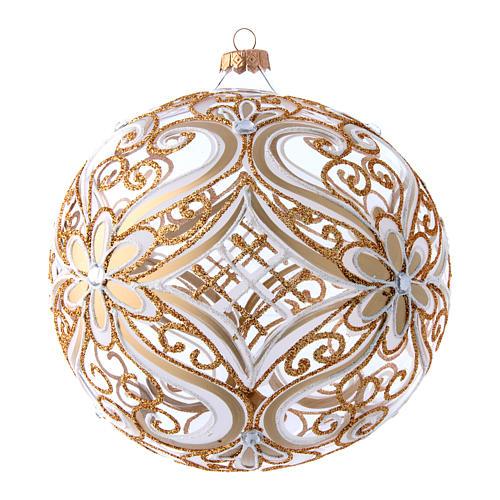 Weihnachtsbaumkugel aus transparentem Glas mit weißen und goldenen Verzierungen 200 mm 2