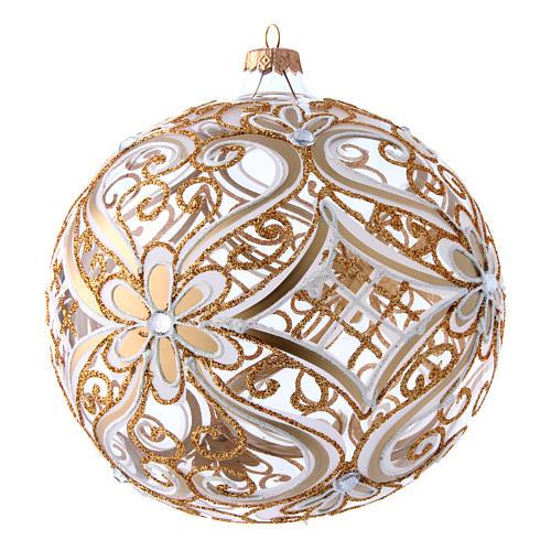 Weihnachtsbaumkugel aus transparentem Glas mit weißen und goldenen Verzierungen 200 mm 3