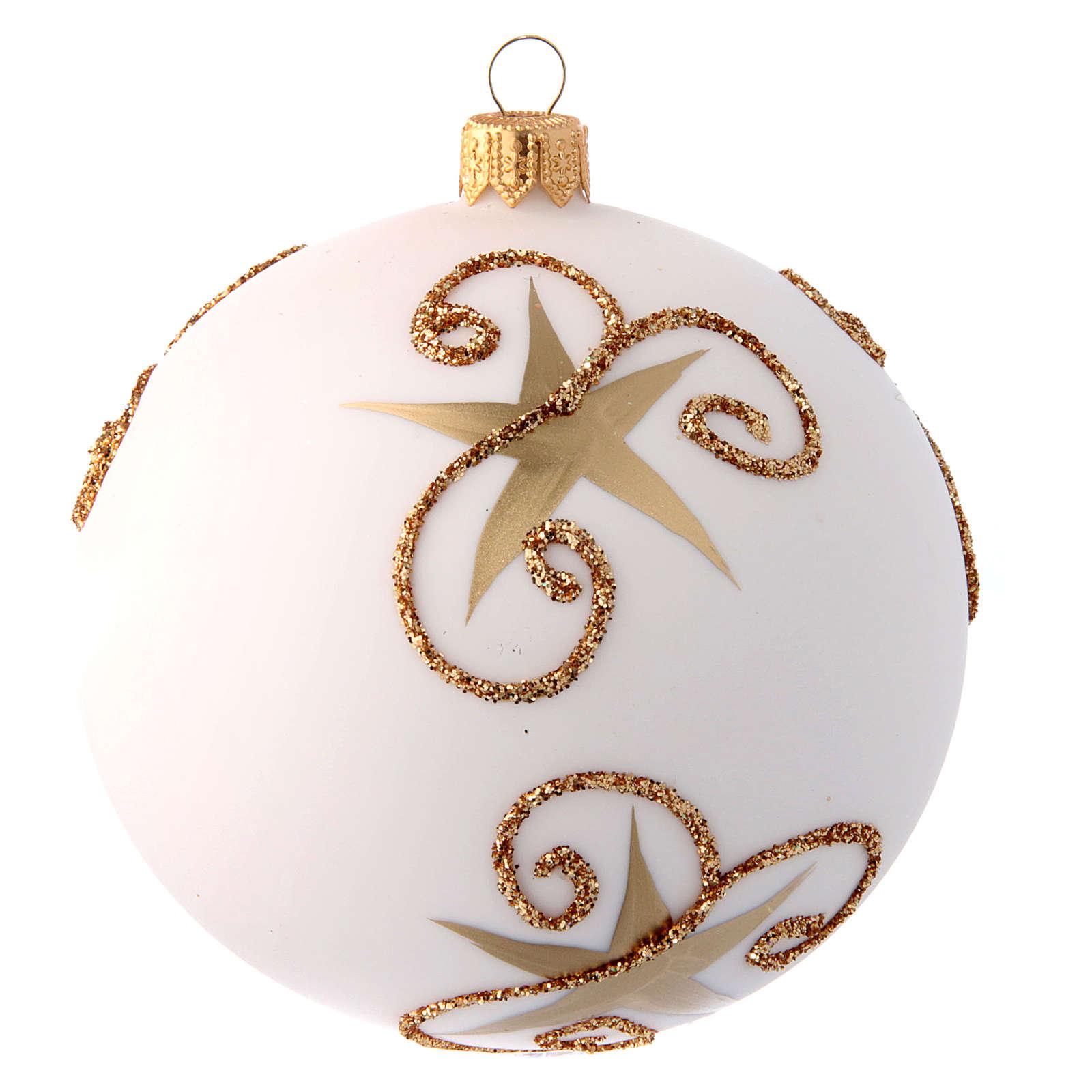 White Christmas tree ball with Father Christmas and deer 100 mm 4