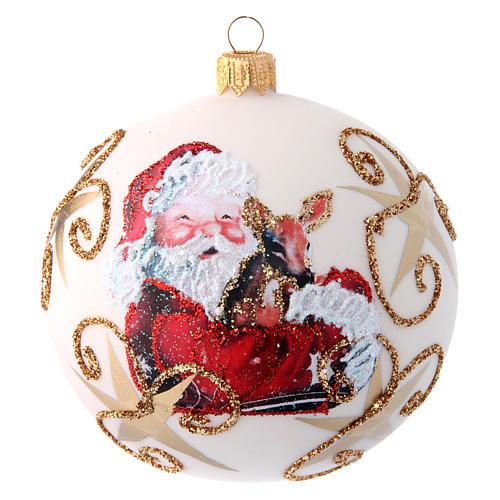 White Christmas tree ball with Father Christmas and deer 100 mm 1