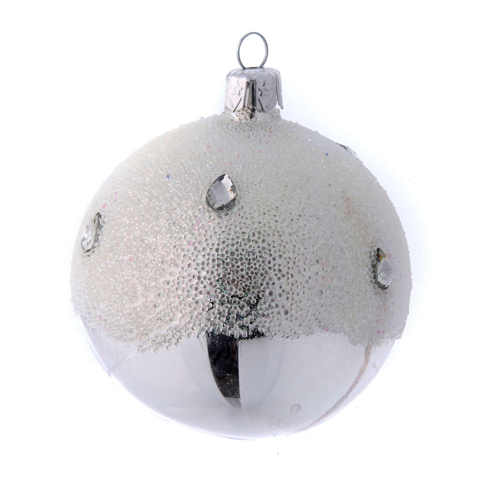 Palline Albero color argento effetto brina 80 mm 6 pezzi 4