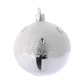 Palline Albero color argento effetto brina 80 mm 6 pezzi s2