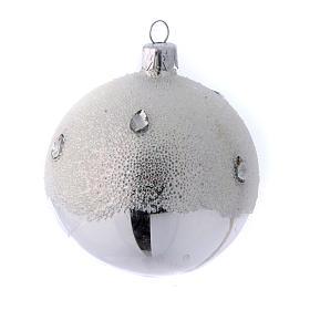 Palline Albero color argento effetto brina 80 mm 6 pezzi s3