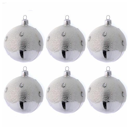 Palline Albero color argento effetto brina 80 mm 6 pezzi 1