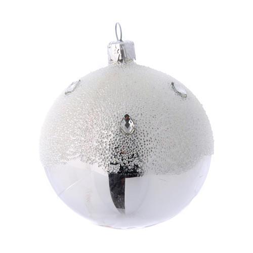 Palline Albero color argento effetto brina 80 mm 6 pezzi 2