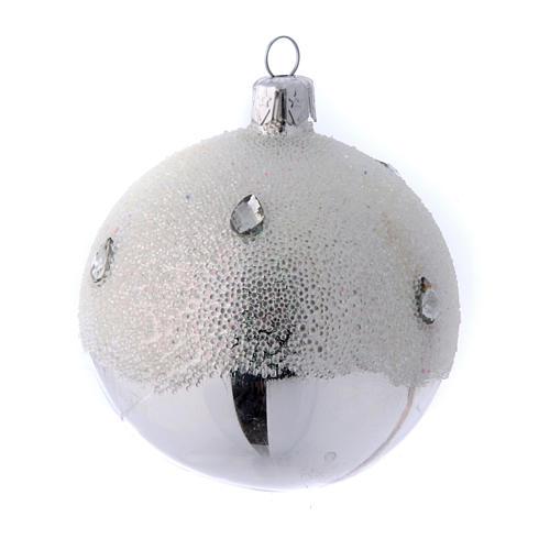 Palline Albero color argento effetto brina 80 mm 6 pezzi 3