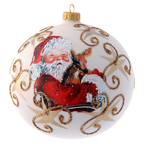 White opaque Christmas tree ball with Father Christmas and deer 150 mm 1
