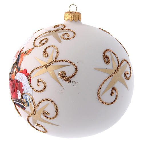 White opaque Christmas tree ball with Father Christmas and deer 150 mm 2