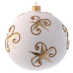 Palla vetro bianco opaco Babbo Natale e cerbiatto 150 mm s3