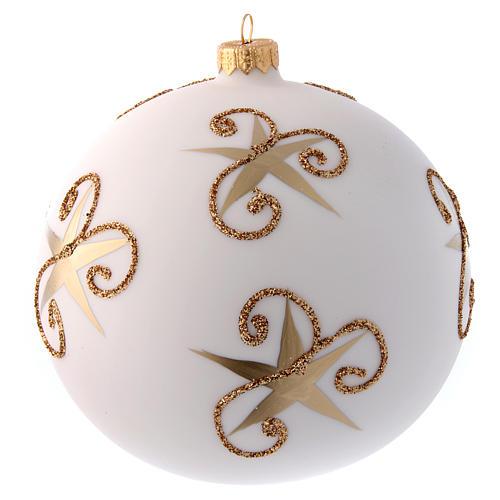Palla vetro bianco opaco Babbo Natale e cerbiatto 150 mm 3