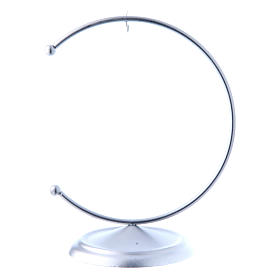 Soporte de metal plateado para bola de Navidad 100 mm s1