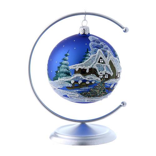 Soporte de metal plateado para bola de Navidad 100 mm 3