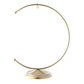 Soporte de metal dorado para bola de Navidad 150 mm s1