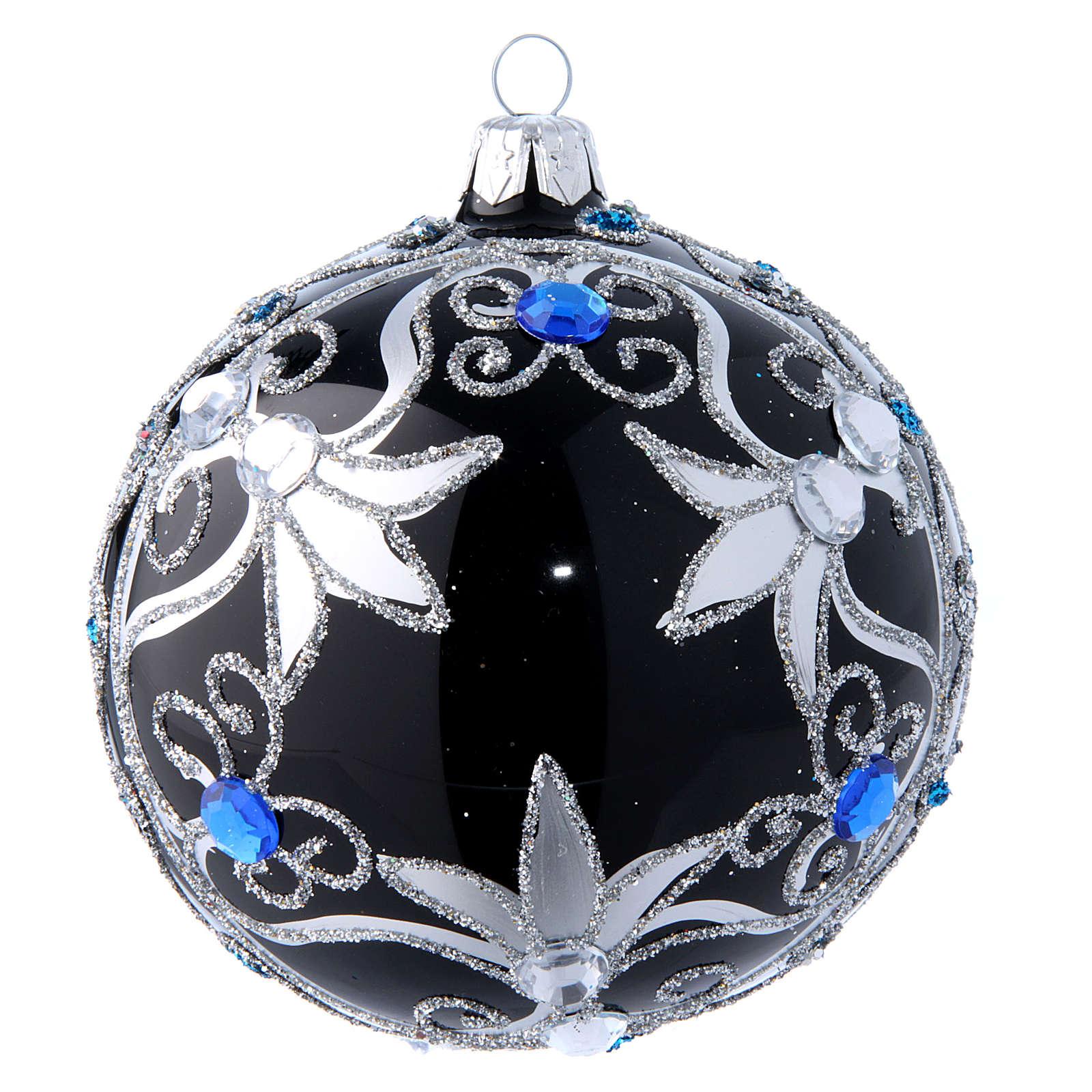 Weihnachtskugel aus Glas Grundton Schwarz mit silbernen Verzierungen 100 mm 4