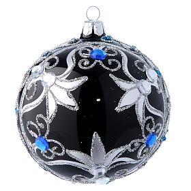 Weihnachtskugel aus Glas Grundton Schwarz mit silbernen Verzierungen 100 mm s1