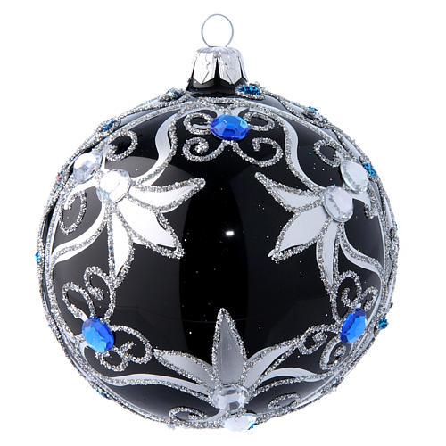 Weihnachtskugel aus Glas Grundton Schwarz mit silbernen Verzierungen 100 mm 1