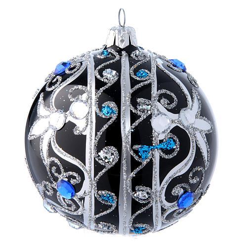 Weihnachtskugel aus Glas Grundton Schwarz mit silbernen Verzierungen 100 mm 2