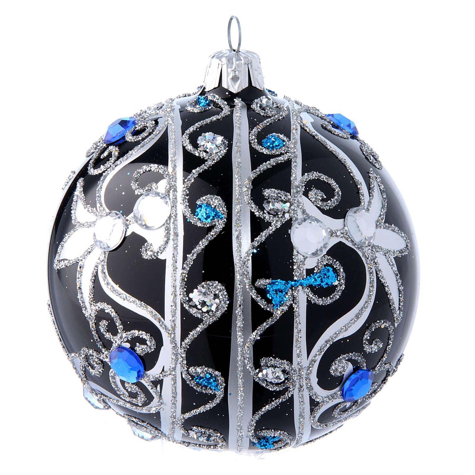 Pallina vetro decoro nero e argento 100 mm | vendita ...
