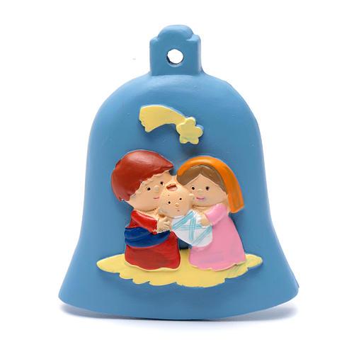 Décoration clochette bleu nativité 8 cm 1