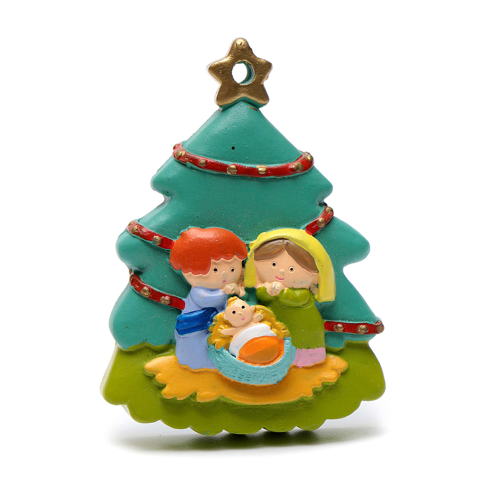 Nativity tree shaped decoration 8 cm 4
