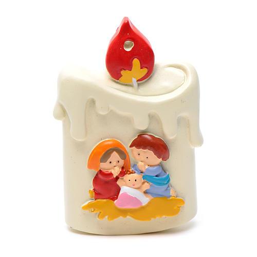 Decoro a forma candela con natività 8 cm 1