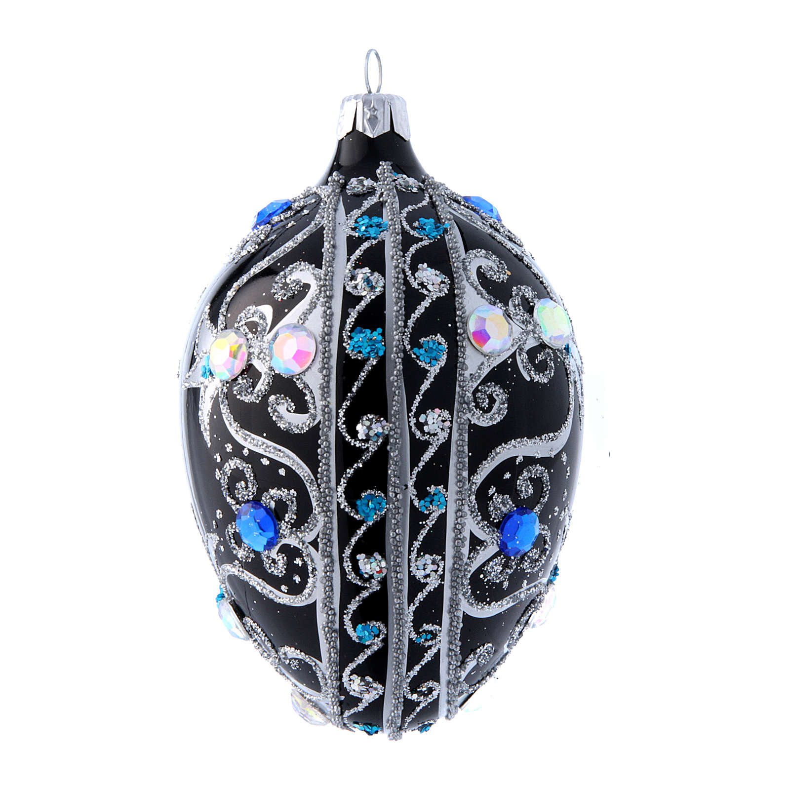 Egg shaped Christmas tree ball with  black and silver decorations  130 mm 4