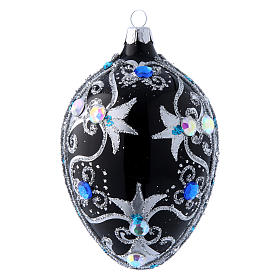 Christmas balls: Egg shaped Christmas tree ball with  black and silver decorations  130 mm