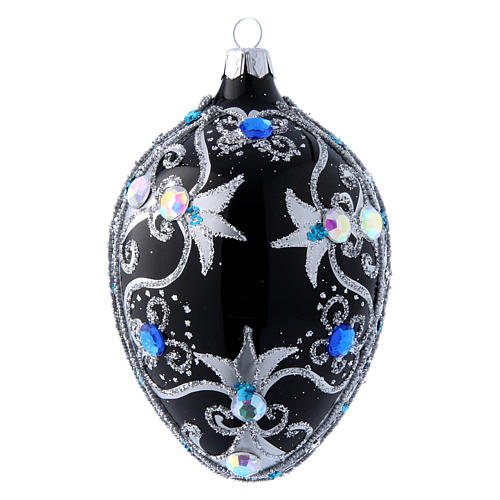 Egg shaped Christmas tree ball with  black and silver decorations  130 mm 1