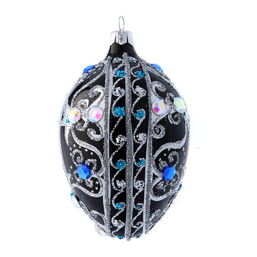 Egg shaped Christmas tree ball with  black and silver decorations  130 mm 2