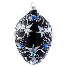 Adorno de Navidad huevo decoración negro y plata 130 mm s1