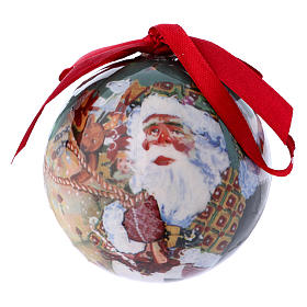 Christmas tree bauble in box with Santa Claus and children 75 mm s1